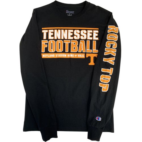 Men's Champion Tennessee Volunteers Team Stencil Long Sleeve Shirt (Black)
