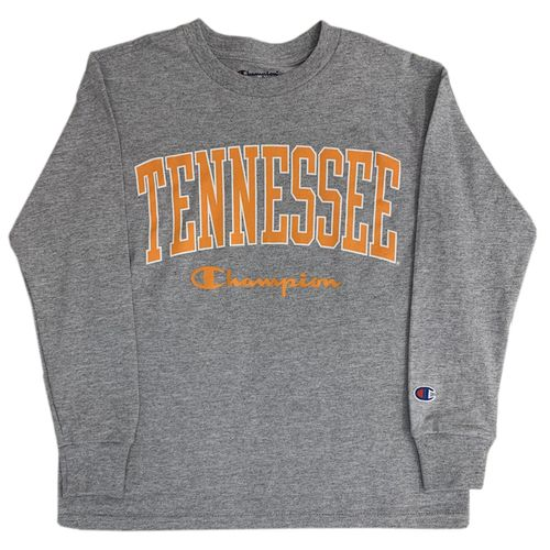 Youth Champion Tennessee Volunteers Vertical Arch Long Sleeve Shirt (Oxford)