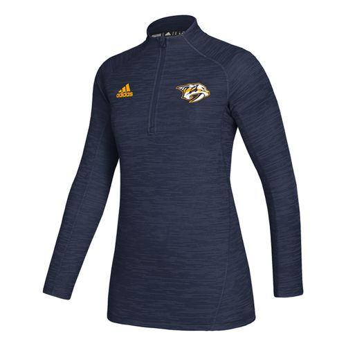 Women's Adidas Nashville Predators Game 1/4 Zip Up (Navy)