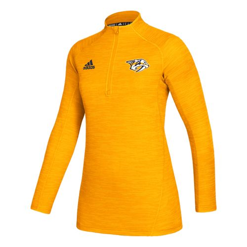 Women's Adidas Nashville Predators Game 1/4 Zip Up (Gold)