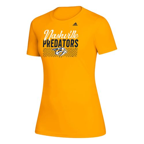 Women's Adidas Nashville Predators Net T-Shirt (Gold)