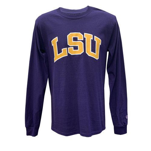 Men's Champion LSU Tigers Arch Logo Long Sleeve Shirt (Purple)