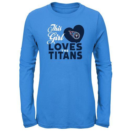 Girl's Tennessee Titans Heart Long Sleeve Shirt (Light Blue)