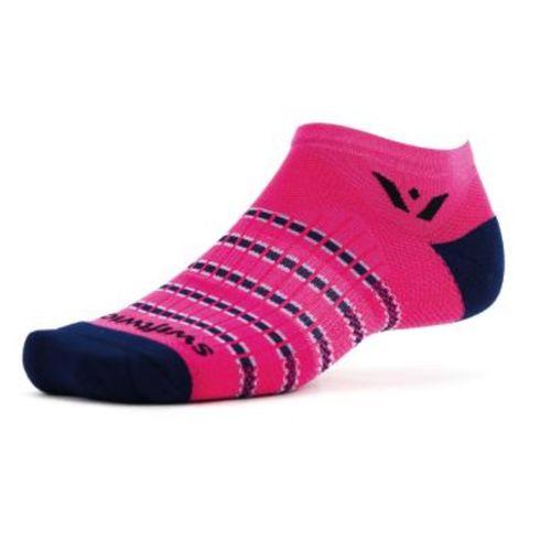 Swiftwick Aspire Stripe Zero Minimum No-Show Sock (Fusha/Navy)