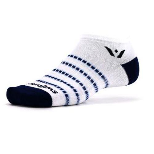 Swiftwick Aspire Stripe No Show Sock (White/Navy)