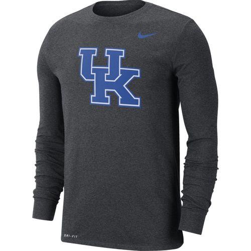 Men's Nike Kentucky Wildcats Dri-FIT Cotton Logo Long Sleeve (Charcoal)