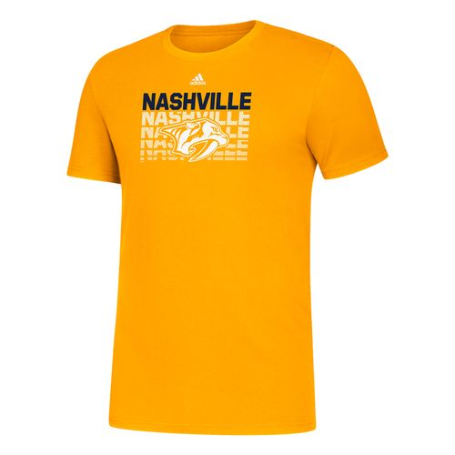 Men's Adidas Nashville Predators Wordmark T-Shirt (Gold)