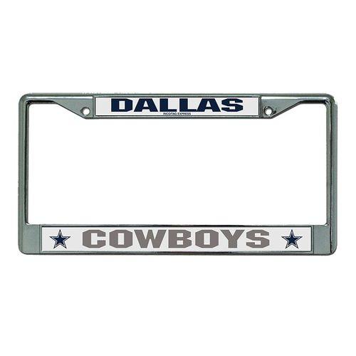 Dallas Cowboys Laser Cut Chrome Frame (Silver/White)