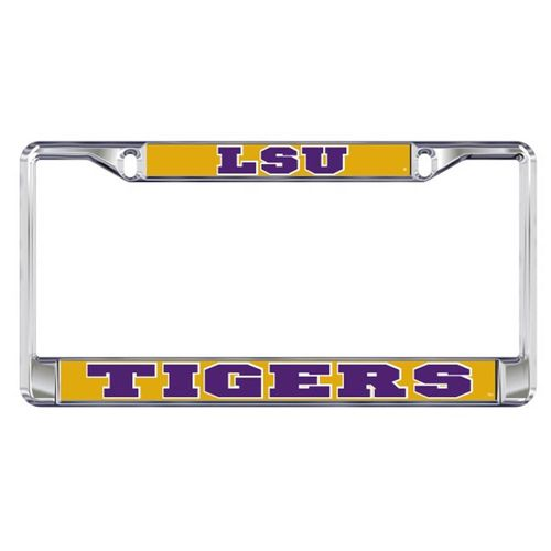LSU Tigers Domed License Plate Frame (Silver)