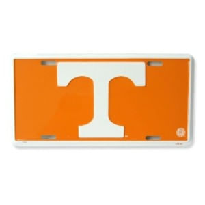 Tennessee Volunteers Metal License Plate Orange/White