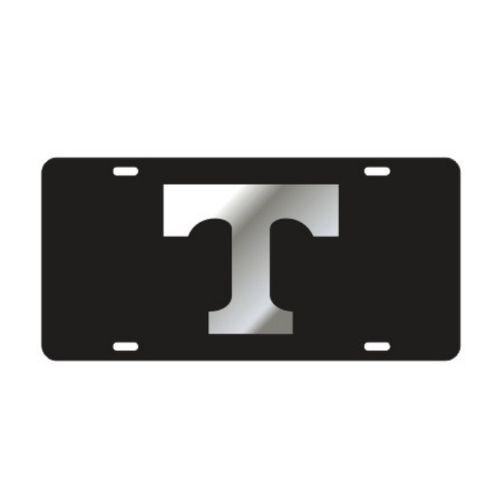 "Tennessee Volunteers Power ""T"" Laser Cut License Plate (Black/Silver)"