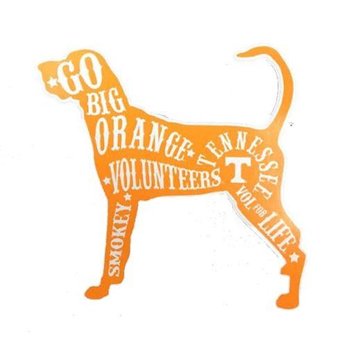 "Tennessee Volunteers 4"" Hound Dog Decal (Orange)"