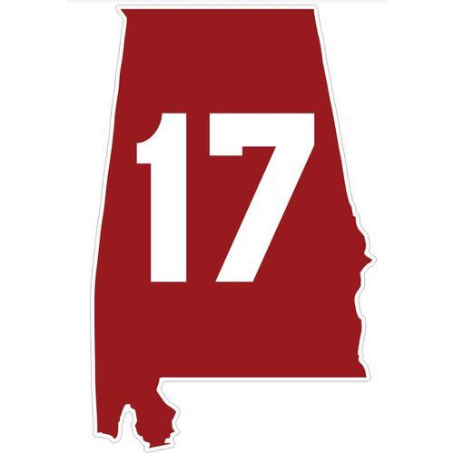 Alabama Crimson Tide 17 State Decal