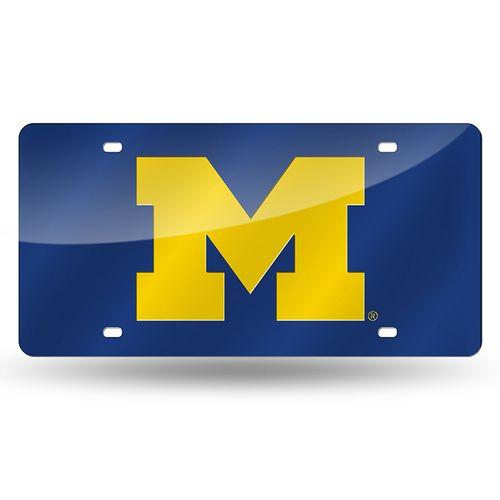 "Michigan Wolverines ""M"" Laser-Cut Acrylic License Plate (Navy)"