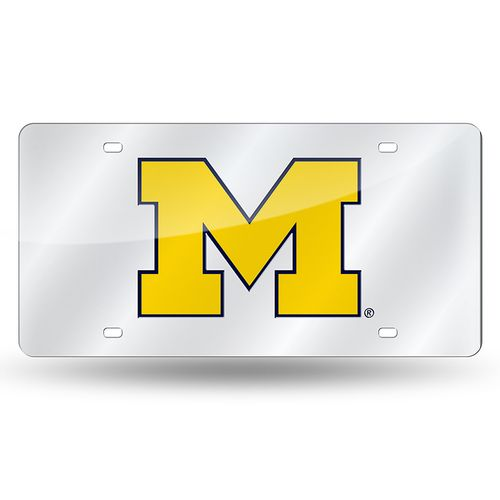 """Michigan Wolverines """"M"""" Laser-Cut Acrylic License Plate (Silver)"""