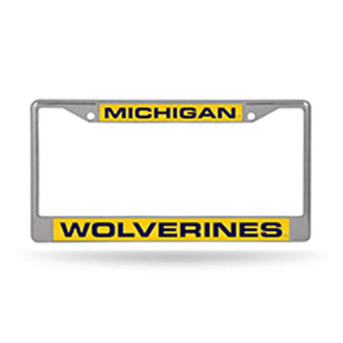 Michigan Wolverines Laser Chrome License Plate Frame (Chrome)