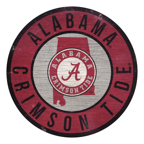 Alabama Crimson Tide State Circle Wood Sign