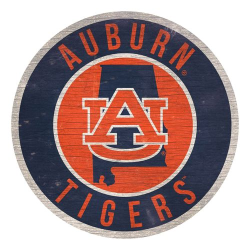 Auburn Tigers State Circle Wood Sign