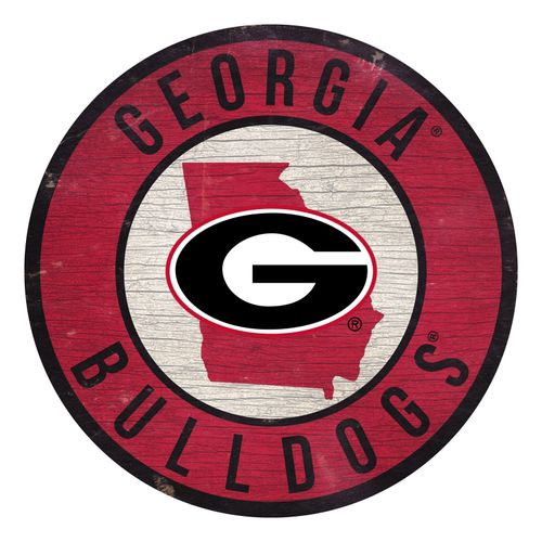 Georgia Bulldogs State Circle Wood Sign