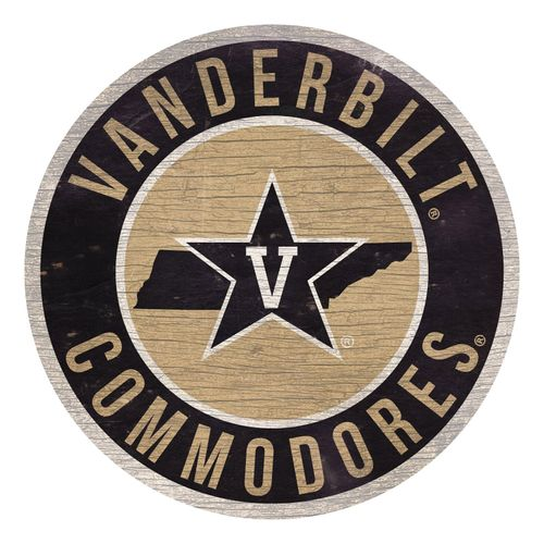 Vanderbilt Commodores  State Circle Wood Sign