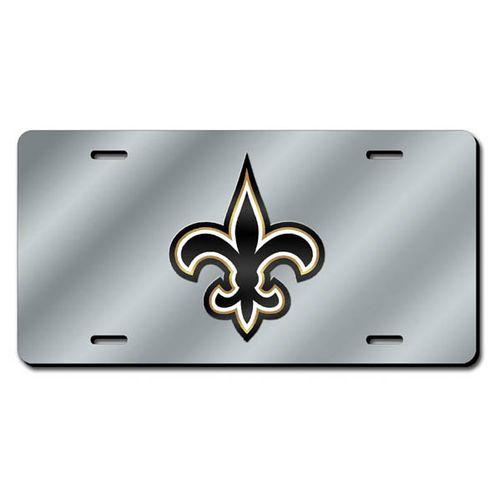 New Orleans Saints Logo Laser-Cut License Plate (Silver)