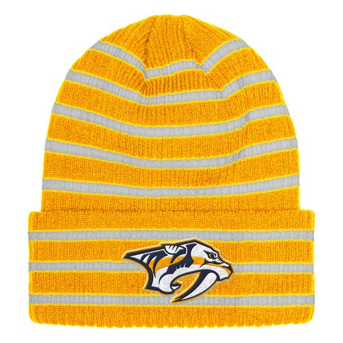 adidas Nashville Predators Striped Cuff Winter Knit Hat (Gold/White)