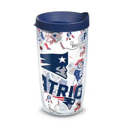New England Patriots Allover Wrap 16oz Tumbler