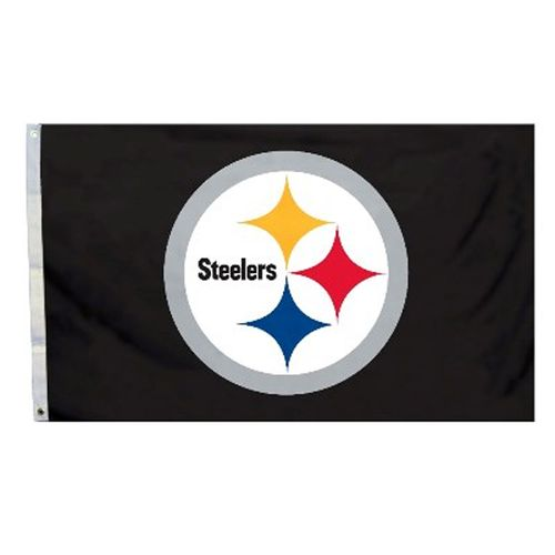 Pittsburgh Steelers Logo Flag (Black)