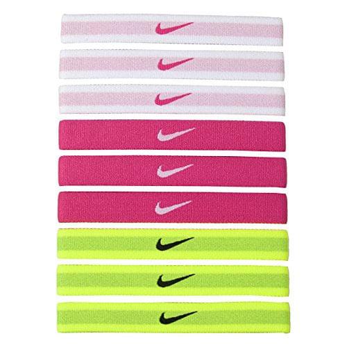 Nike 9 pack Headbands (White/Pink/Volt)