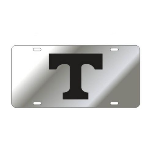 "Tennessee Volunteers Power ""T"" Laser Cut License Plate (Silver/Black)"