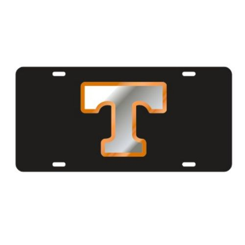 "Tennessee Volunteers Power ""T"" Laser Cut License Plate (Black/Silver/Orange)"
