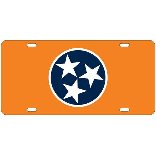 Tennessee Tri-Star Laser License Plate (Orange/White/Navy)