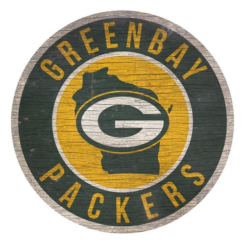 Green Bay Packers State Circle Wood Sign
