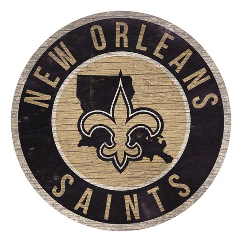 New Orleans Saints State Circle Wood Sign