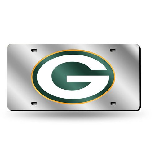 Green Bay Packers Logo Laser-Cut Acrylic License Plate (Silver)