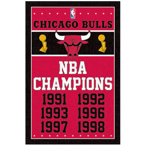 Chicago Bulls NBA Championship Dates Poster