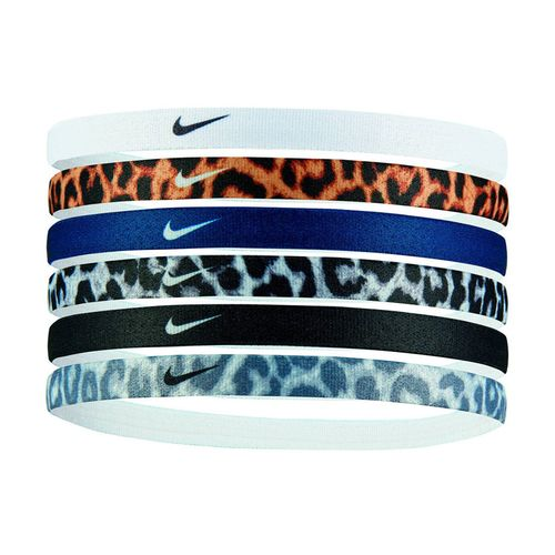 Nike 6 Pack Printed Headbands (White/Gold/Blue)