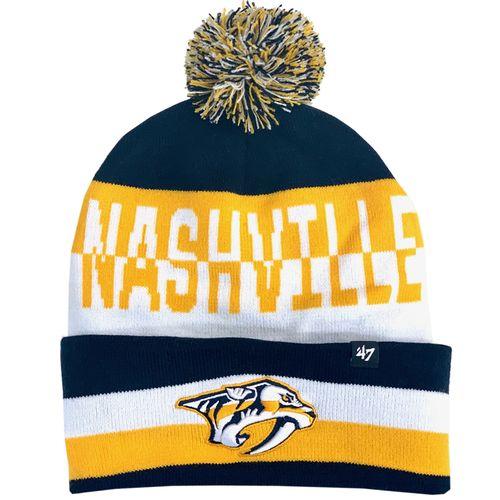'47 Brand Nashville Predators Split Text Cuff Knit Hat (Navy/Gold)
