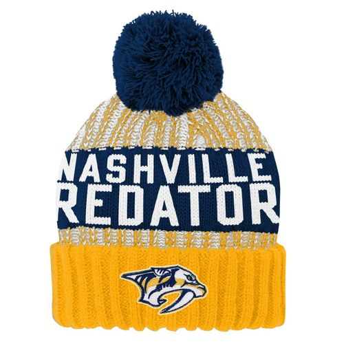 Youth Nashville Predators Gauge Cuff Knit Hat (Navy/Gold)