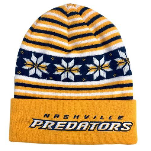 Adidas Nashville Predators Cuff Beanie Hat (Gold/Navy)