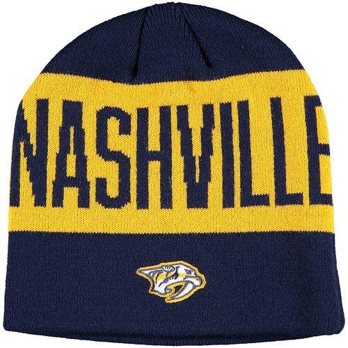 Adidas Nashville Predators Coach Beanie Hat (Navy/Gold)
