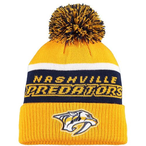 Adidas Nashville Predators Pom Cuff Knit Hat (Gold/Navy)
