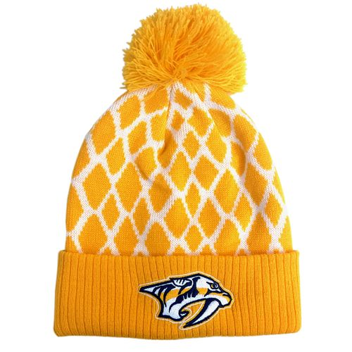 Adidas Nashville Predators Cuff Pom Knit Hat (Gold/White)