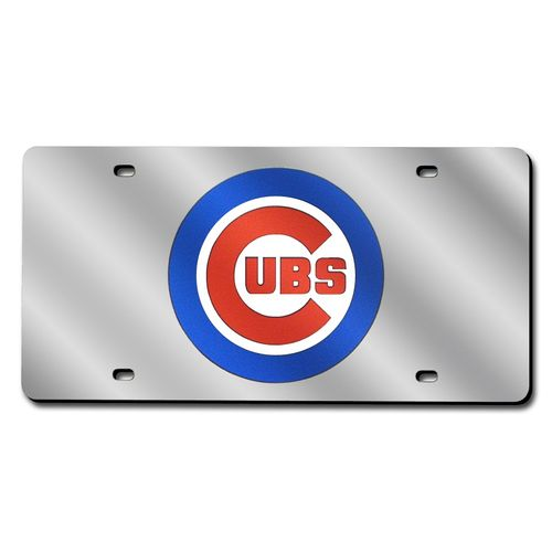 Chicago Cubs Laser-Cut Acrylic Silver Laser Tag