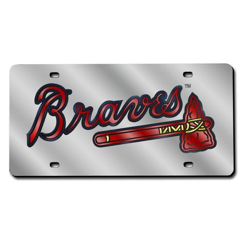 Atlanta Braves Laser-Cut Acrylic Silver License Plate