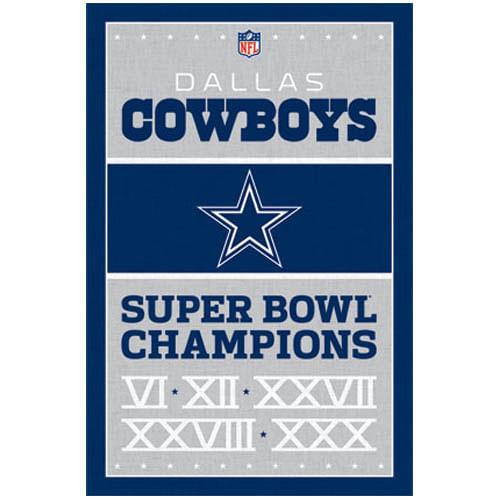 Dallas Cowboys Championship Dates Poster