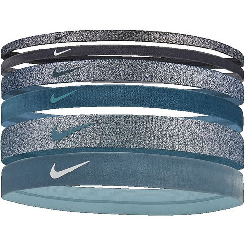Nike 6-Pack Mixed Width Novelty Headbands (Black/Turquoise)