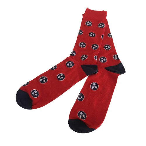 Old Hickory Tri-Star Tennessee State Flag Sock (Red/Navy)