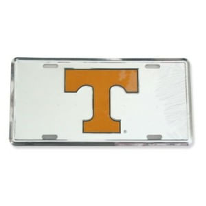 Tennessee Volunteers Metal License Plate Silver/Orange