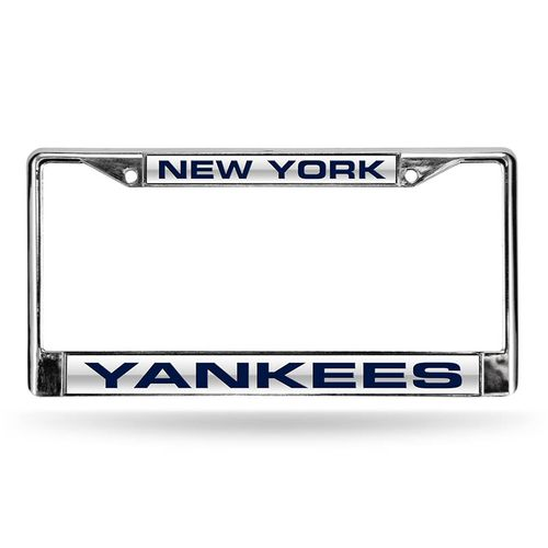 New York Yankees Laser Cut Chrome License Plate Frame (Silver)